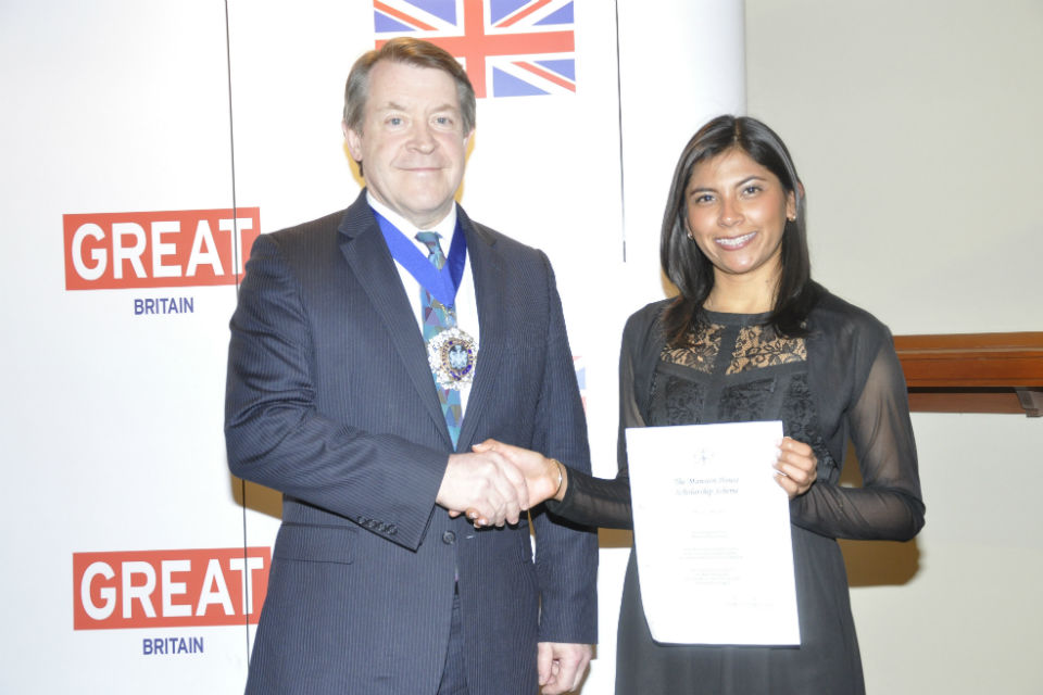 Lord Mayor and Carla Balbuena, the first Peruvian to be awarded the Mansion House Scholarship