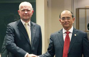 Foreign Secretary William Hague with President U Thein Sein of Burma in London.