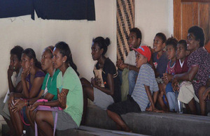 Young Solomon Islanders enjoying a film