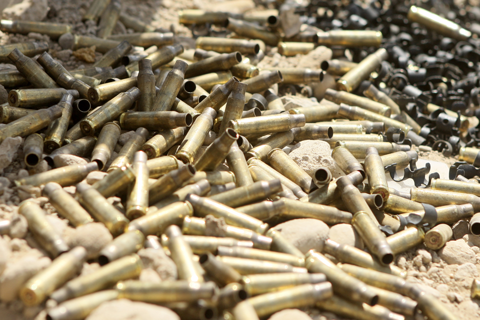 Empty cases from a general purpose machine gun