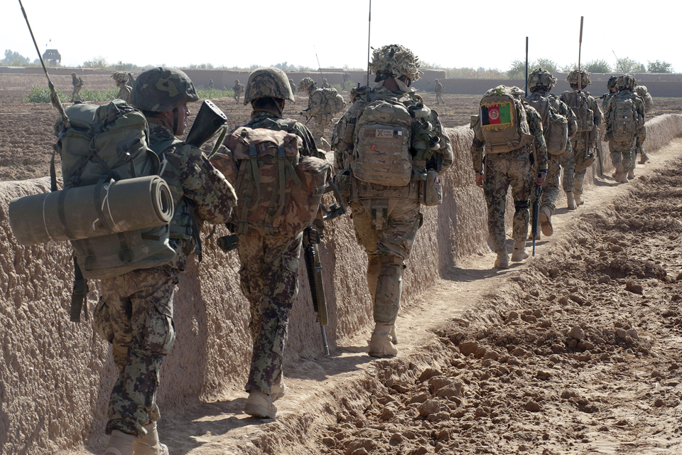 Afghan National Army warriors and soldiers from 1 SCOTS