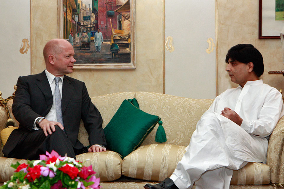 Foreign Secretary William Hague and Pakistani Interior Minister Chaudhry Nisar Ali Khan