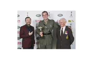 From left: Ricky Gervais, Captain Si Maxwell and his grandfather, David Maxwell Senior