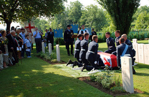The remains of Boston BZ590's 4 crew members are laid to rest in a single coffin beneath 4 headstones at the Padua War Cemetery in Italy [Picture: Mike Drewett, Crown copyright]