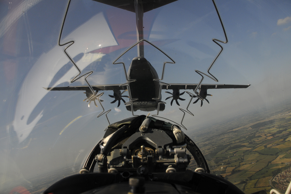 Airbus A400M Atlas in flight, taken from the backseat of a Red Arrows Hawk jet