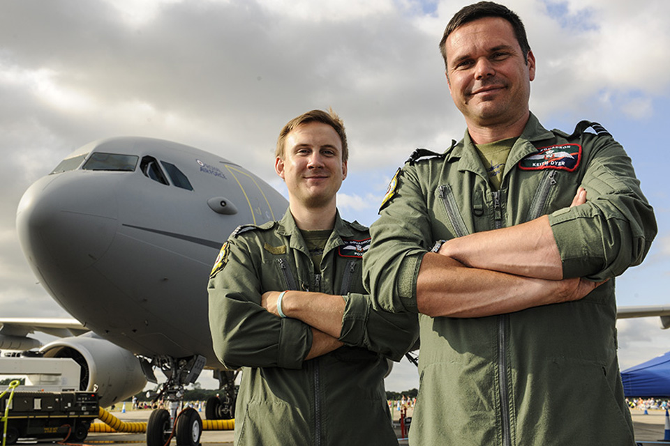 Flight Lieutenant Keith Dyer (right) with a colleague