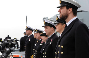 Officers on the deck of HMS Northumberland