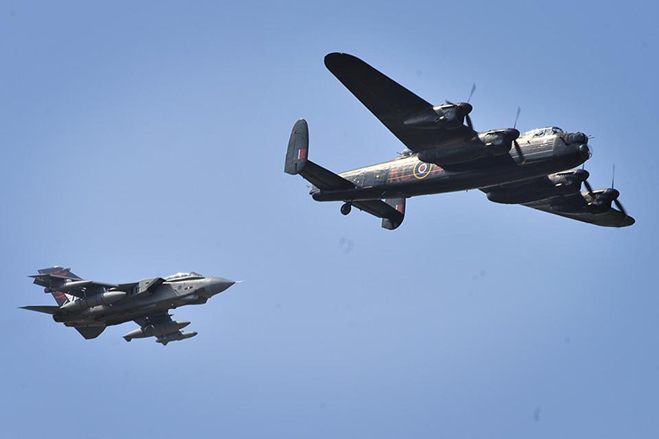 A Tornado GR4 with an Avro Lancaster bomber