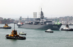 JDS Kashima passes Fort Blockhouse, Gosport, as she enters Portsmouth Harbour [Picture: Leading Airman (Photographer) Simmo Simpson, Crown copyright]