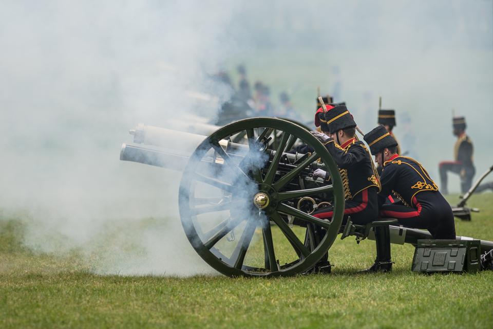 The King's Troop Royal Horse Artillery fire a 41-gun royal salute