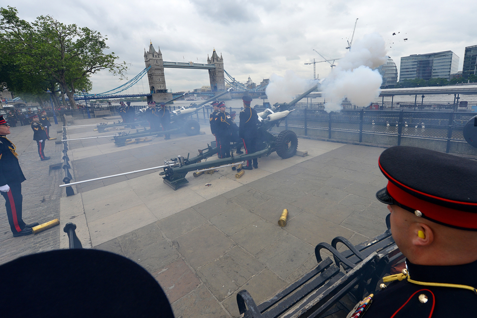The Honourable Artillery Company fire a gun salute
