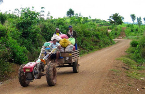 Cambodian farmers on their way to market