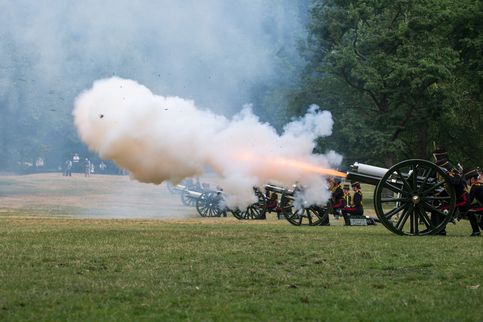 Members of The King's Troop Royal Horse Artillery fire a 41-gun salute in Green Park
