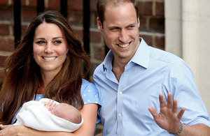 The Duke and Duchess of Cambridge with their baby