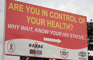 HIV testing is advertised on a roadside sign