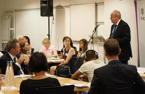 Policing and Criminal Justice Minister Damian Green addresses the 100-strong audience at the meeting of the Sexual Violence against Children and Vulnerable People Group