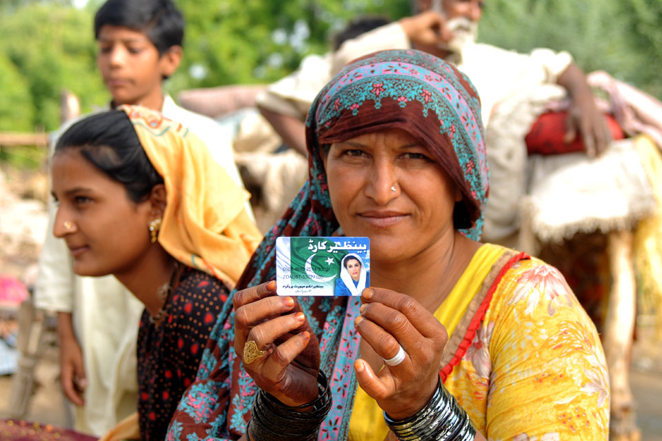 """The BISP card prevents us from going days without food,"" says Noor Bhari, 54, as she proudly displays her debit card provided under Pakistan's national income support programme. Picture: World Bank"