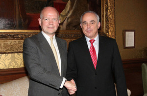 Foreign Secretary William Hague with Yuval Steinitz, Israeli Minister of Strategic and Intelligence Affairs responsible for International Relations