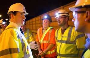 Chancellor meeting workers at M6 road works