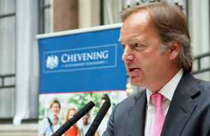 Hugo Swire speaking at the reception