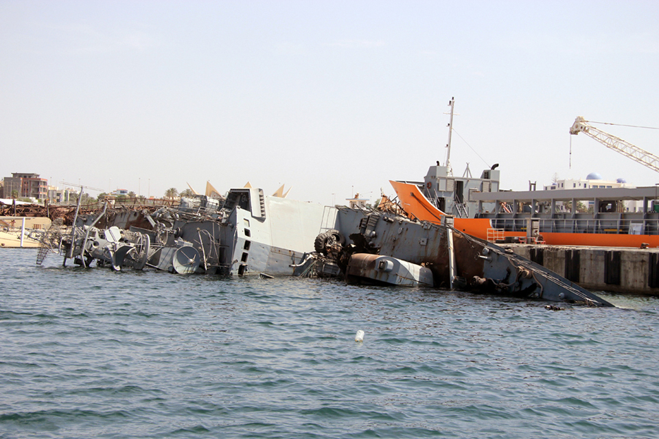 Wreck in Tripoli Harbour