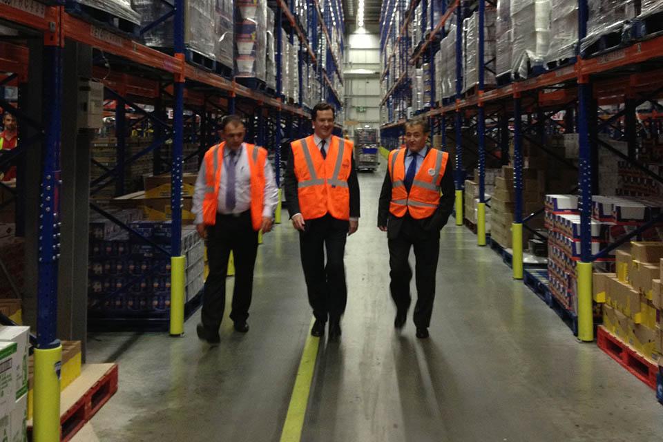 Chancellor at a Tesco distribution centre