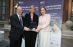 Nezha Hayat with minister Alistair Burt and Ambassador lalla Joumala