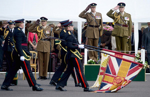 His Royal Highness The Duke of York takes the salute [Picture: Corporal Andy Reddy RLC, Crown copyright]