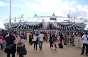 Crowds gather outside the Olympic stadium