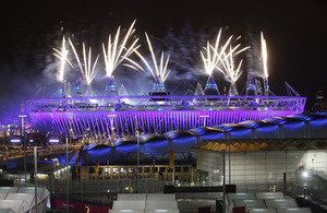 Fireworks over the Olympic stadium at the opening ceremony
