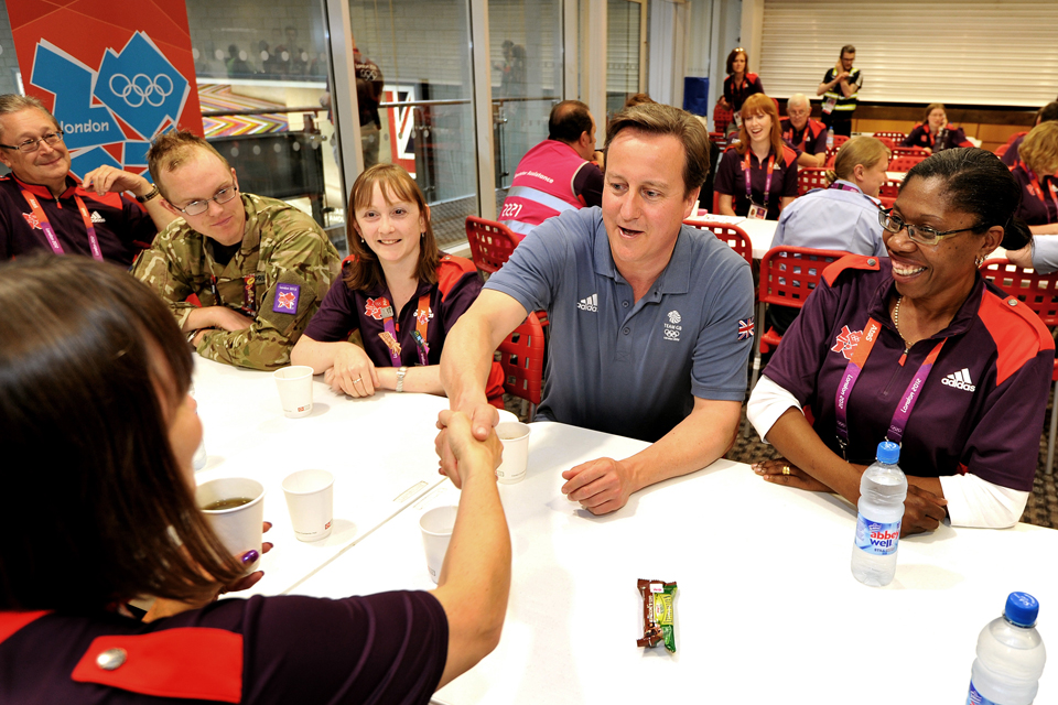 The Prime Minister meets Games Makers. Photo: John Stillwell/PA Wire.