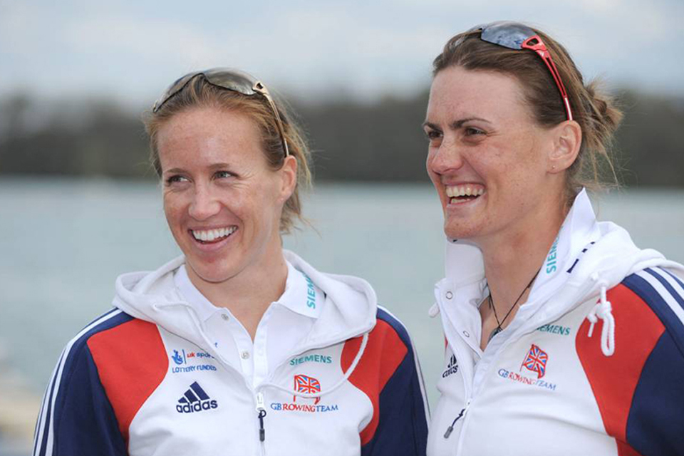 Captain Heather Stanning (right) and her rowing partner, Helen Glover