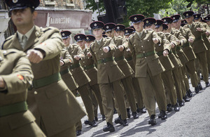 Soldiers parade through the streets of Saffron Walden [Picture: Sergeant Brian Gamble RLC, Crown copyright]