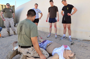 Royal Marines medics training on an extremely realistic dummy