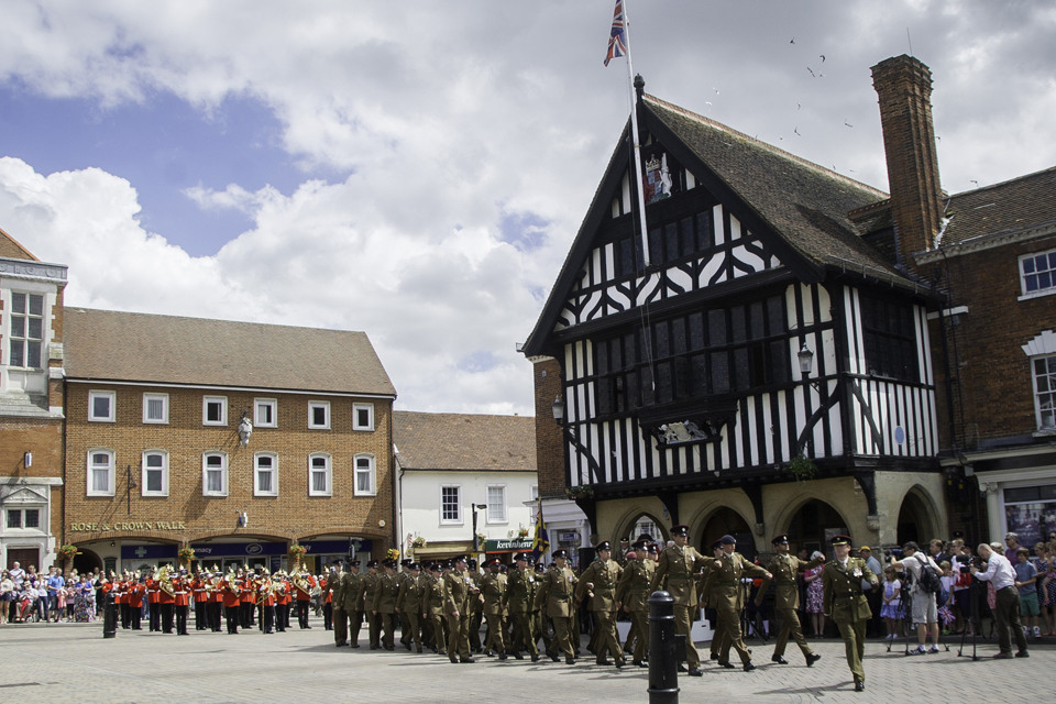 Soldiers on parade in Saffron Walden