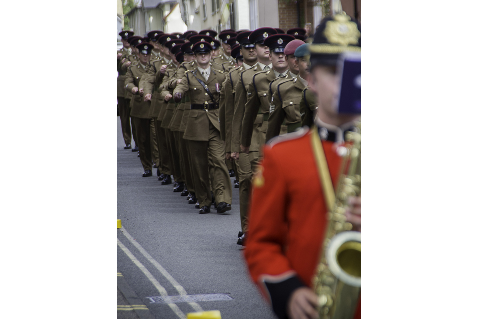 Soldiers parade through the streets of Saffron Walden