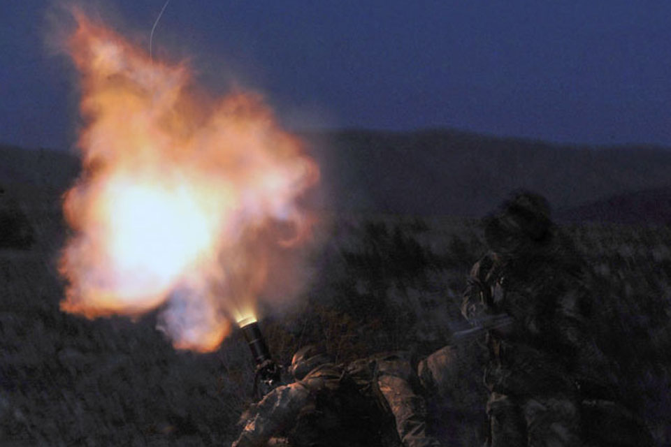 Royal Marines training on the live firing ranges in the Mojave Desert, California