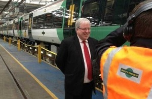 Transport Secretary Patrick McLoughlin at Southern Railways' Battersea Depot