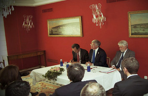 Michael Fallon with Giles Paxman during his visit to Madrid