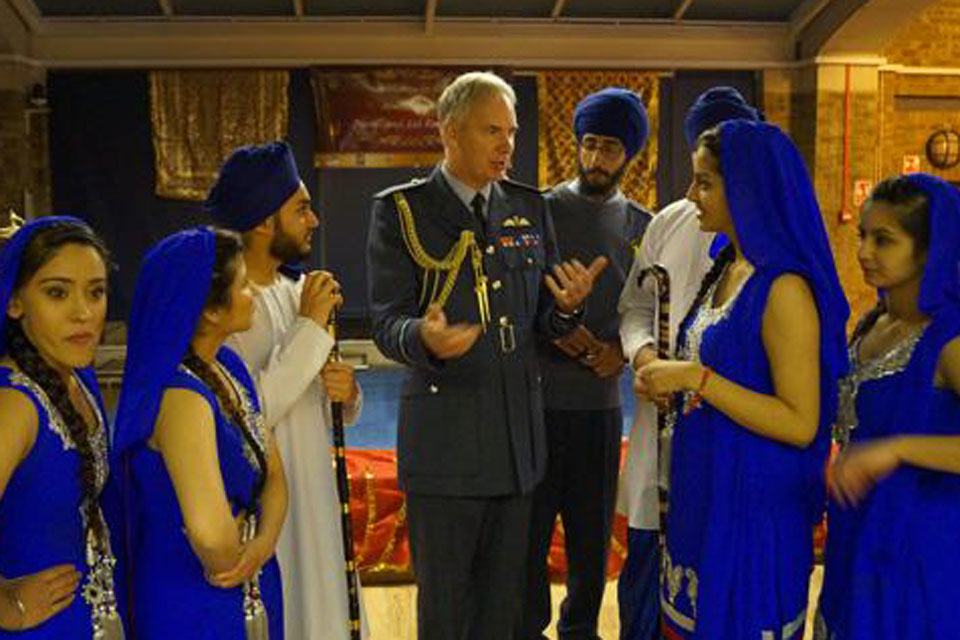Air Marshal Andy Pulford meeting the Bhangra Dancers of 1846 (Southall) Air Cadet Squadron