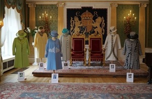 The Queen's outfits on display in Hillsborough Castle's Throne Room