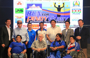 British Embassy Chargé d' Affaires Trevor Lewis with the Filipino Paralympians