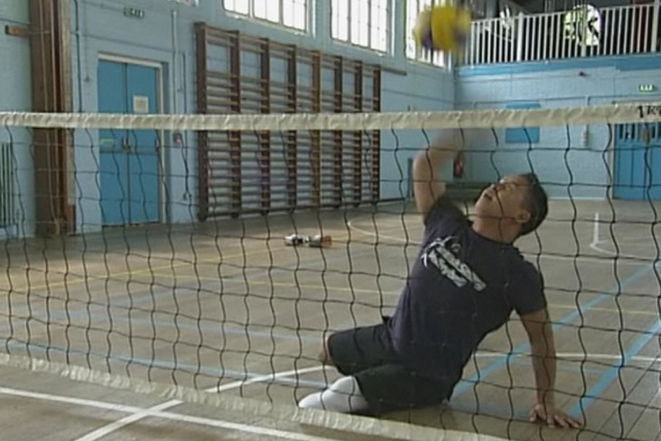 Lance Corporal Netra Rana competing in the Men's Sitting Volleyball