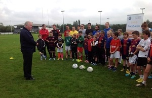 Mike Penning at the Game of Three Halves in South Belfast