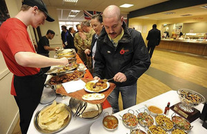 Military and civilian staff taste the offerings from the Junior Ranks Mess at Army Headquarters in Andover