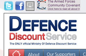 The Defence Discount Service website is now open