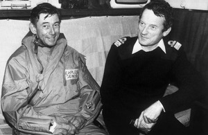 Major General Jeremy Moore and Admiral John 'Sandy' Woodward (right) onboard HMS Hermes at the time of the Falklands War (library image) [Picture: Crown copyright IWM (FKD 2608)]