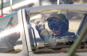 A Tornado GR4 pilot signals to ground crew before deploying on a mission over Libya (stock image).