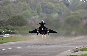 A Typhoon jet is scrambled from RAF Northolt during an exercise
