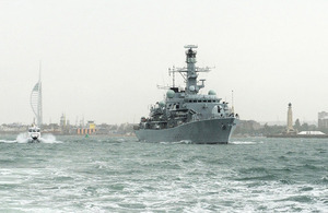 HMS Richmond sails from Portsmouth on 5 August 2013 [Picture: Leading Airman (Photographer) Nicky Wilson, Crown copyright]